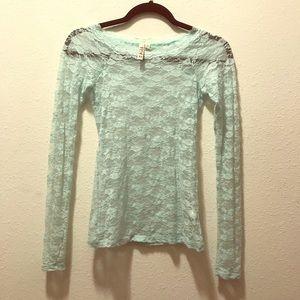 Mudd Light Blue Lace Long Sleeve Top